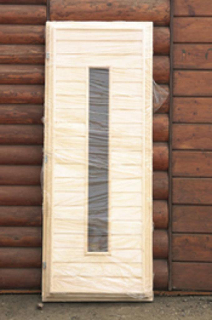 """Двери для саун и бань: Дверь 700*1700 мм банная со стеклом, на петлях (вагонка ЛИПА сорт """"А""""). в Погонаж"""