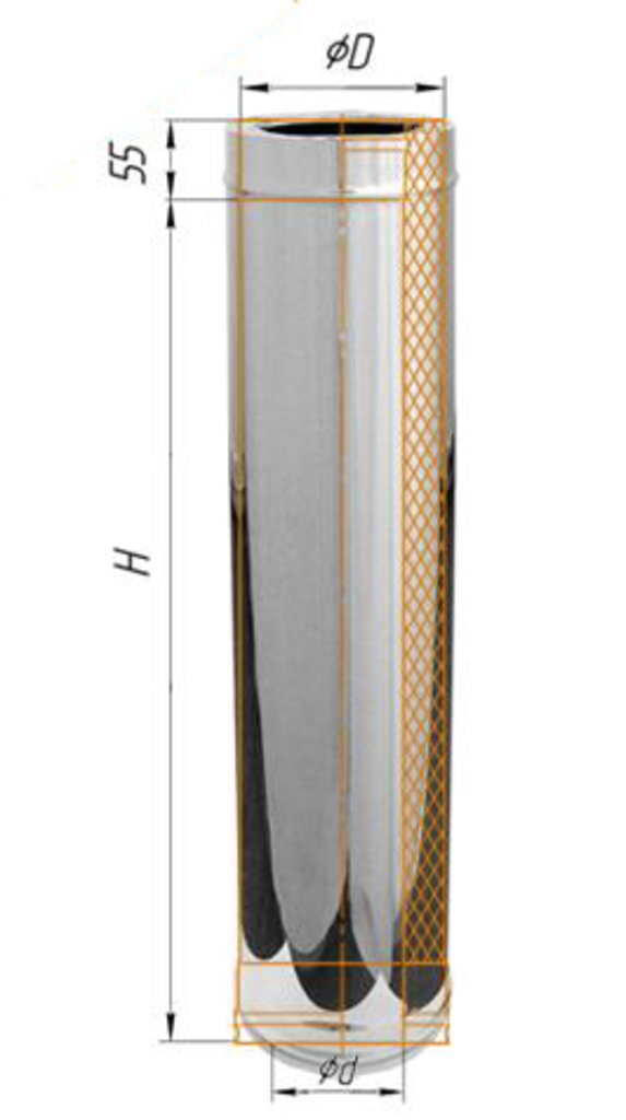 Печи и дымоходы: Дымоход Феррум утепленный нержавеющий (430/0,8мм)/зеркальный нержавеющий ф115/200 L=0,5м в Погонаж