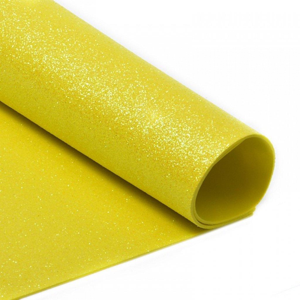 Фоамиран: Фоамиран глиттерный 2мм 20*30см жёлтый, 1 лист в Шедевр, художественный салон