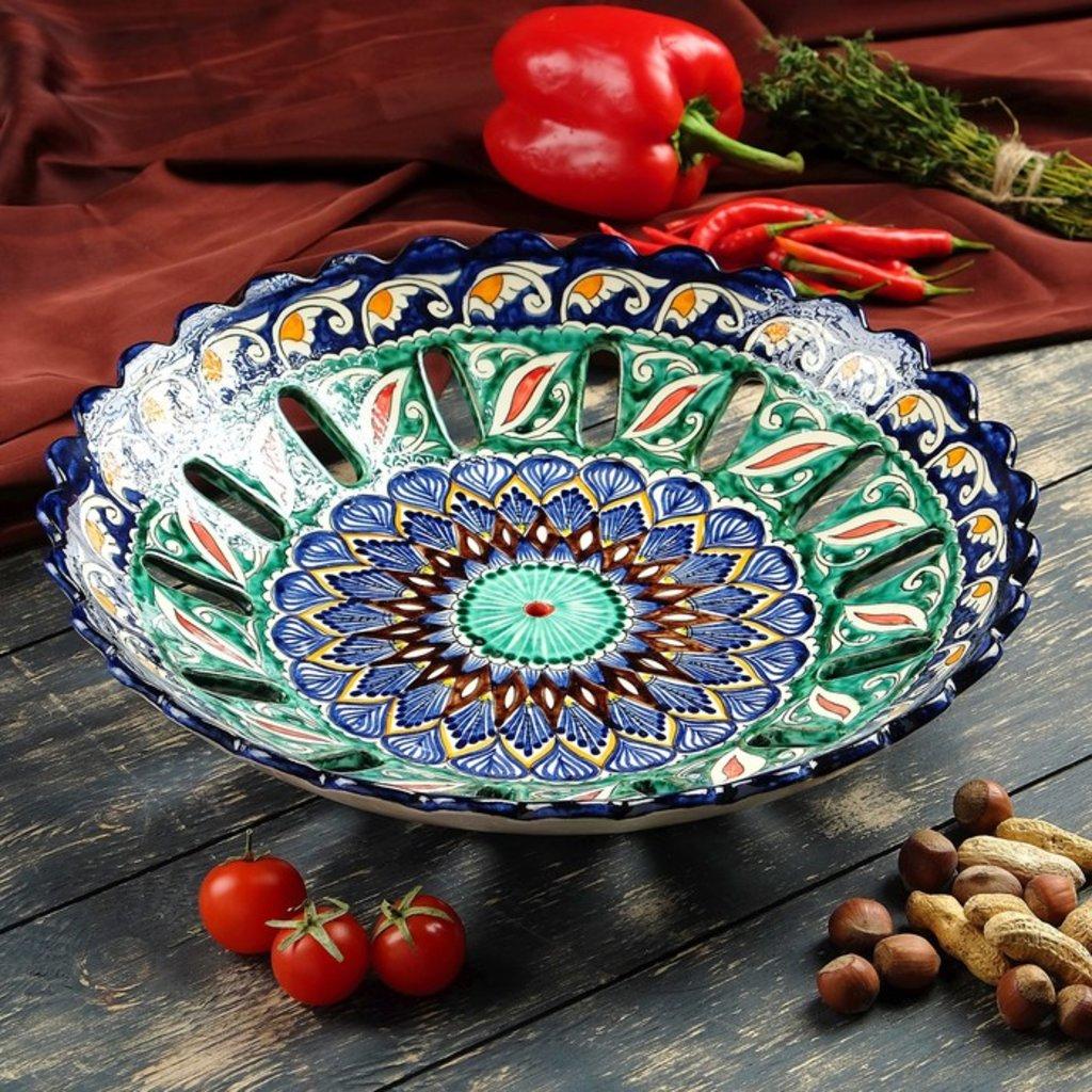 Мангалы. Казаны. Узбекская и турецкая посуда: Фруктовница Риштанская керамика в Сельский магазин