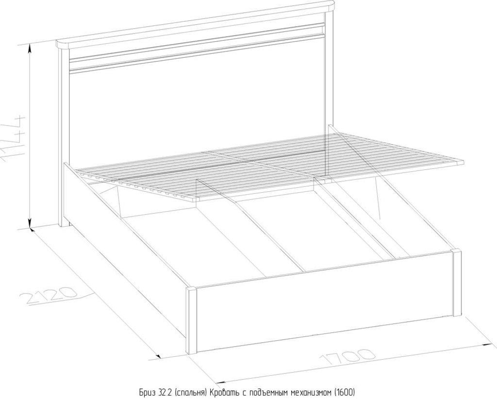 Кровати: Кровать Бриз 32.2 (1600, мех. подъема) в Стильная мебель