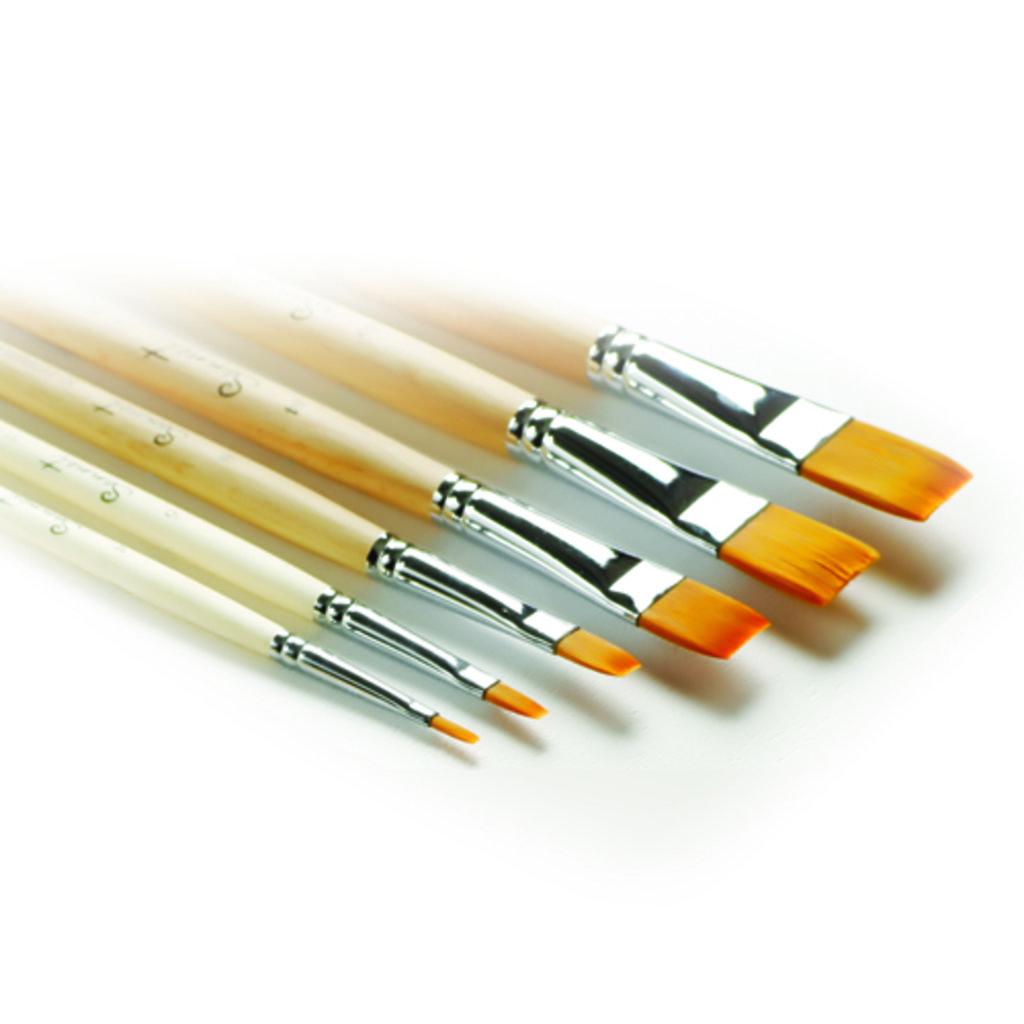 плоская: Кисть синтетическая  плоская длинная ручка пропитанная лаком Сонет №6 (322206) в Шедевр, художественный салон
