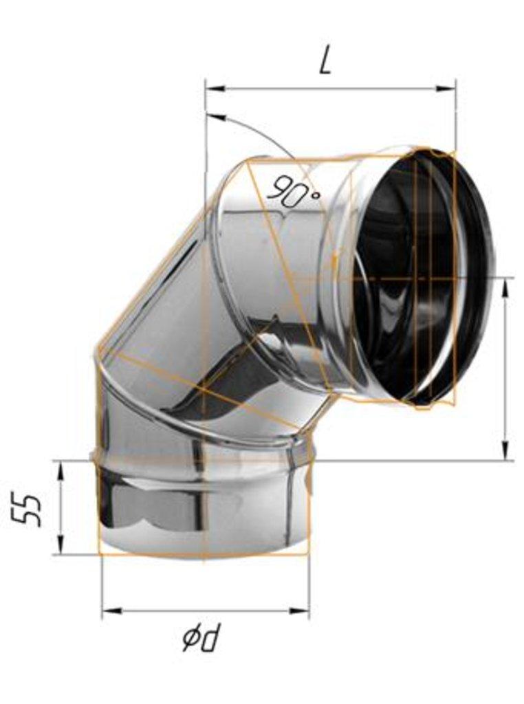 Печи и дымоходы: Колено Феррум угол 90°, нержавеющее (430/0,8мм), ф115 в Погонаж