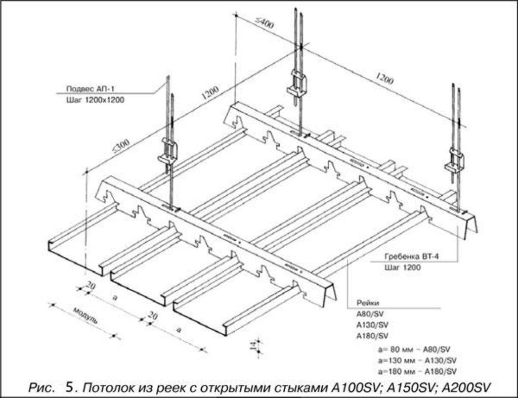 Реечные потолки: Рейка прямоугольного дизайна A130SV черный A911 rus в Мир Потолков