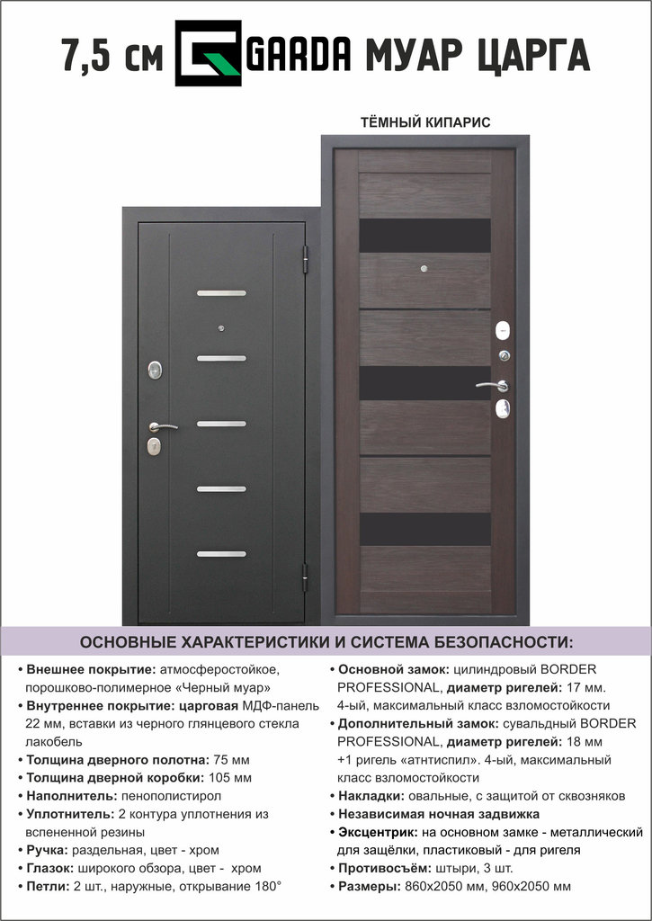 Двери завода Феррони: 7,5 см Garda МУАР ЦАРГА Темный кипарис в Модуль Плюс