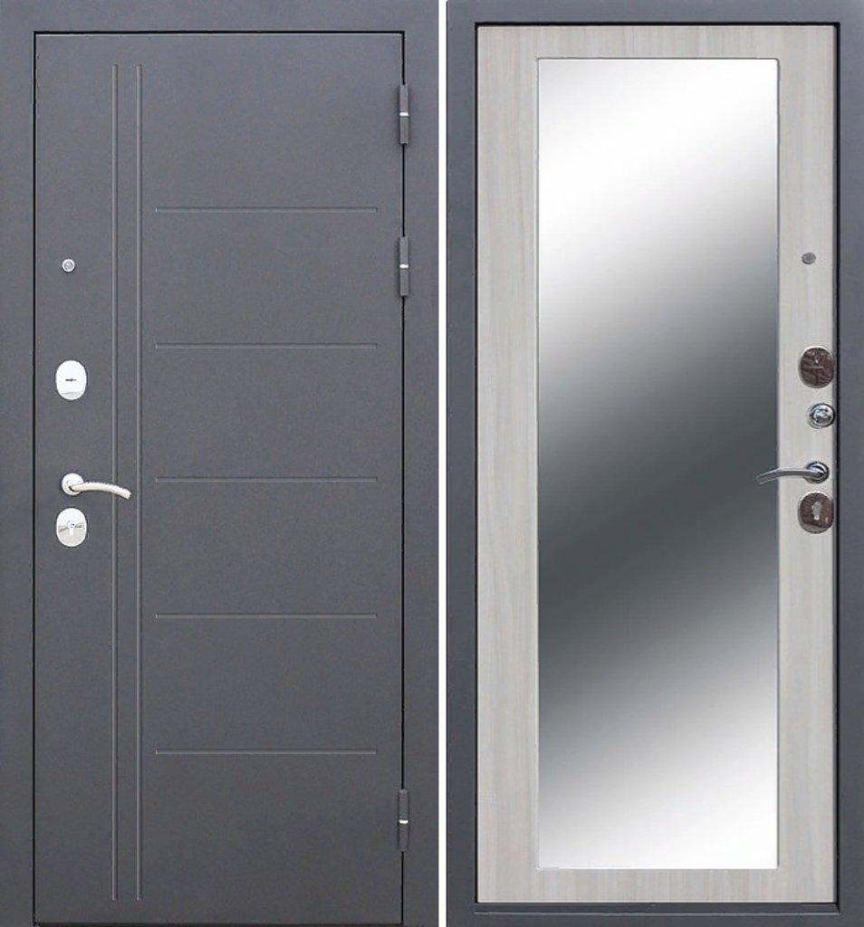 Двери Цитадель: Дверь входная металлическая Троя Серебро MAXI Зеркало 10см в Салон дверей Доминго Ноябрьск