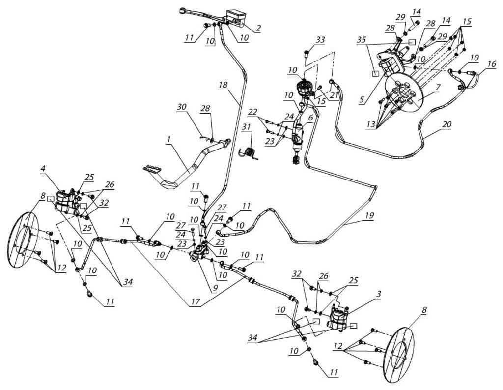 Запчасти для техники PM: Суппорт передний левый в сборе 714842000CR в Базис72