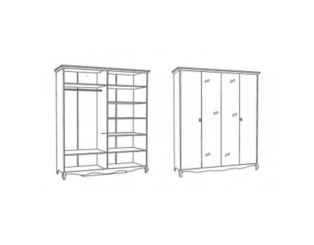 Шкафы для спальни: Шкаф 4-дверный Винтаж белый в Стильная мебель