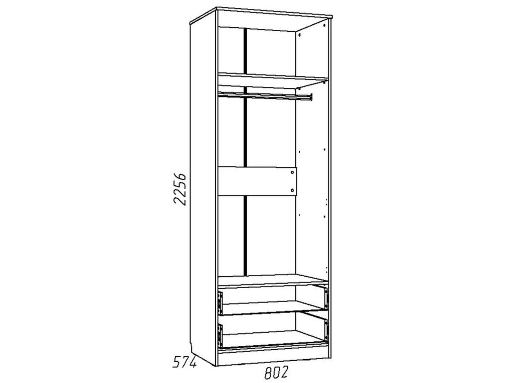 Детские шкафы и стеллажи: Шкаф для одежды с ящиками НМ 013.02-03 М Акварель в Стильная мебель