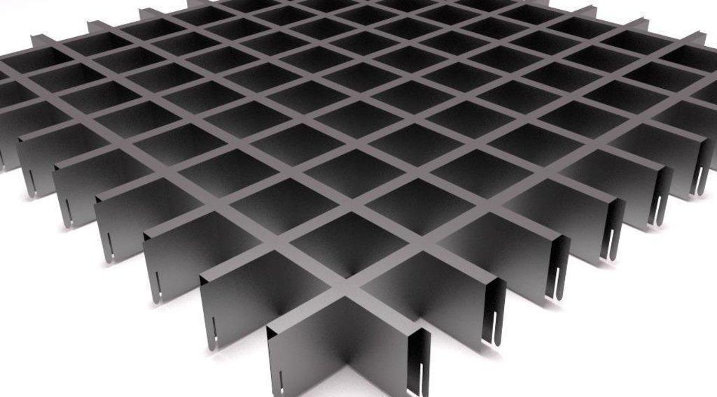 Потолки грильято: Потолок Грильято 75x75 h=40 матовый металлик RAL 9006 (Cesal) в Мир Потолков