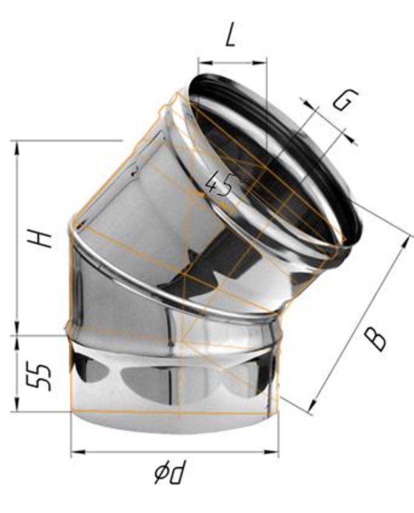 Печи и дымоходы: Колено Феррум угол 135°, нержавеющее (430/0,8мм), ф115 в Погонаж