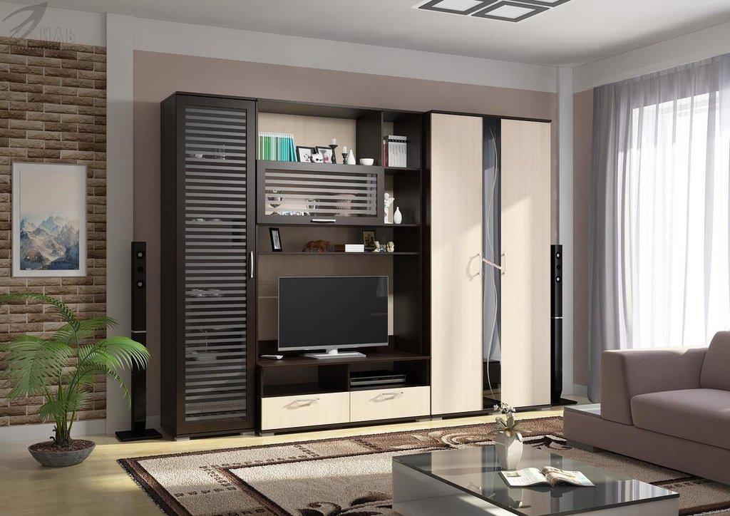 Мебель для гостиной Поло - 1: Шкаф со стеклом ШК-02 для гостиной Поло - 1 в Диван Плюс
