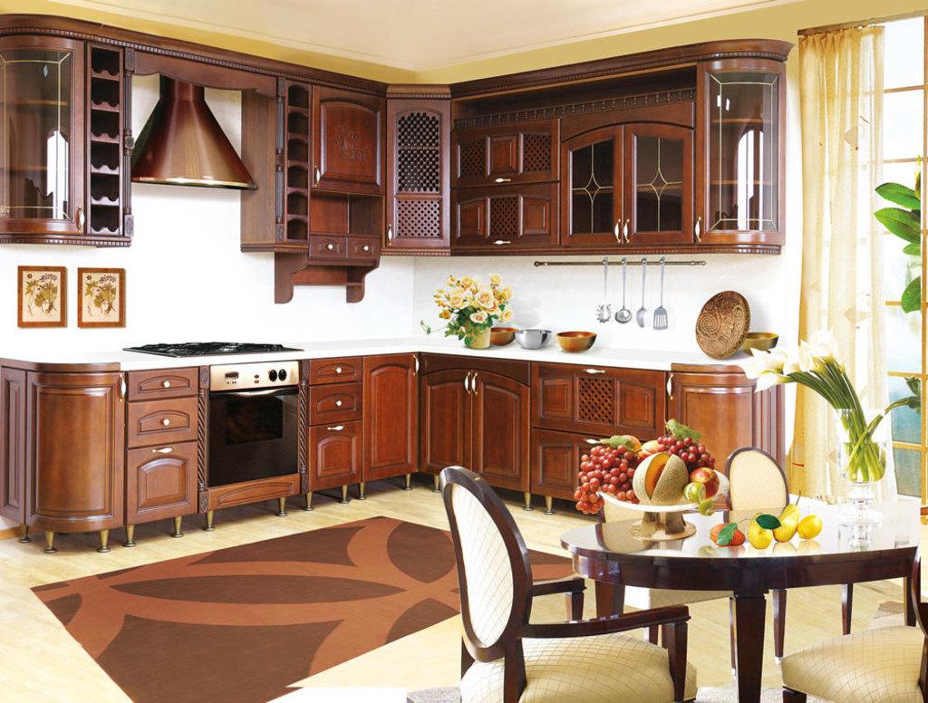Кухни: Кухня из массива ольхи Т307-113 в Стильная мебель