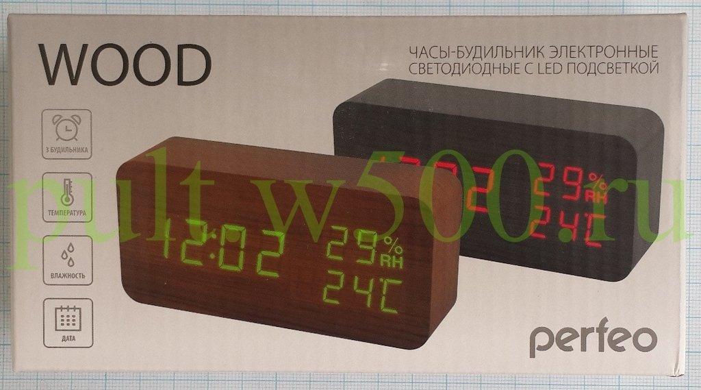 """Часы, будильники: Часы-будильник   LED """"Wood"""", коричневый / красная,  время, температура, влажность ( Perfeo PF-S736, PF_A4391 ) в A-Центр Пульты ДУ"""