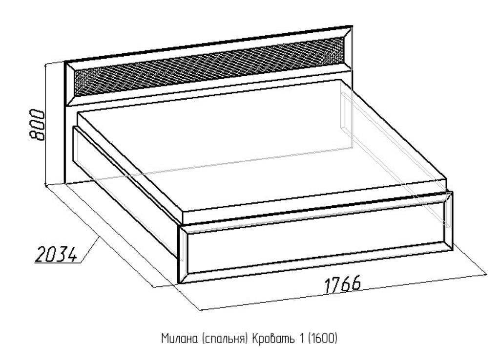 Кровати: Кровать Милана 1 (1600, орт. осн. дерево) в Стильная мебель