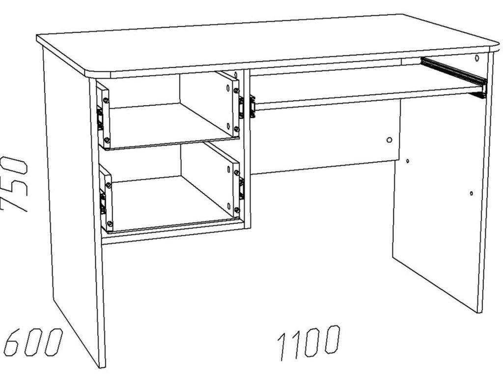 Компьютерные столы: Стол компьютерный НМ 009.19-05 М1 Акварель в Стильная мебель