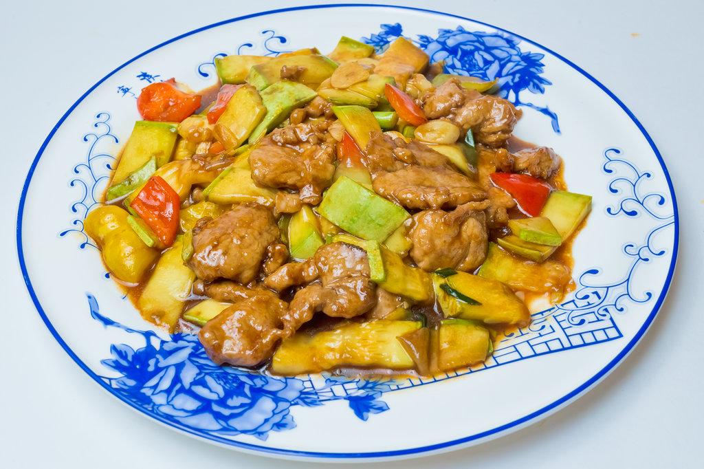 Горячие блюда: Свинина с цукини и болгарским перцем в Шанхай