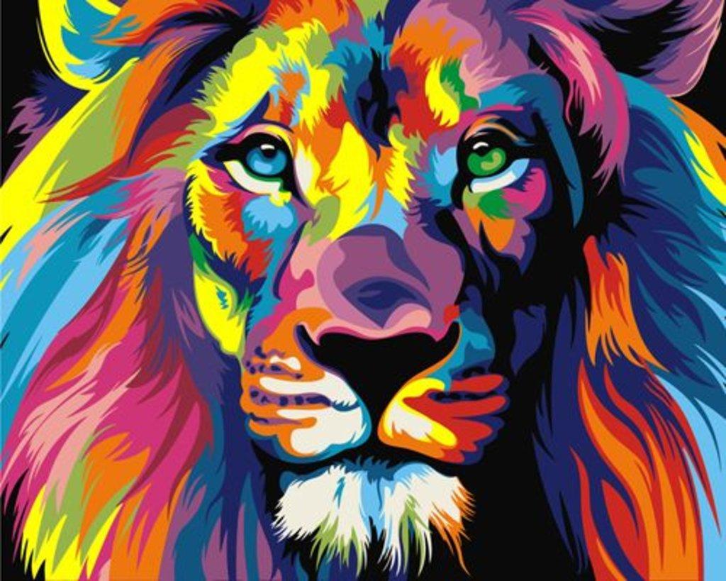 Картины по номерам: Картина по номерам Paintboy 40*50 GX8999 Радужный лев в Шедевр, художественный салон