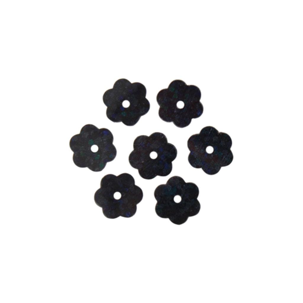 "Цветочки 10мм.: Пайетки""Цветочки""10мм.,упак/10гр.Астра(цвет:А50 черный голограмма)) в Редиант-НК"