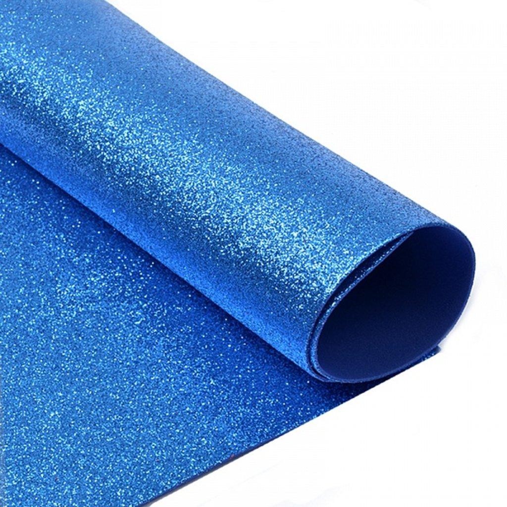 Фоамиран: Фоамиран глиттерный 2мм 20*30см синий, 1 лист в Шедевр, художественный салон
