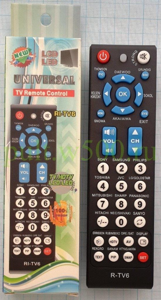 Пульты универсальные: Пульт R-TV6 ( УНИВ.TV ) SG в A-Центр Пульты ДУ